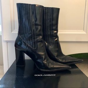 Dolce & Gabbana Black Leather Boot, Size 39.5